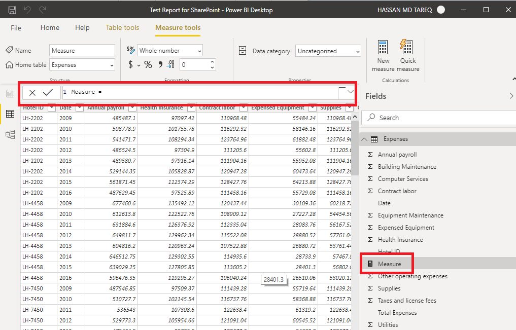 Power BI Desktop data tab Step 3